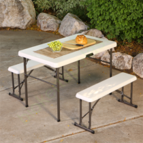 Összecsukható kerti bútor szett (asztal + 2 sörpad) 107 cm