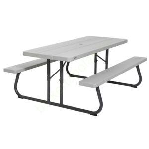 Összecsukható szürke piknik asztal és sörpad 183 x 76 cm