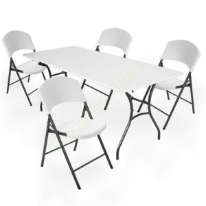 Összecsukható családi kerti bútor szett (asztal + 4 szék) 183 cm